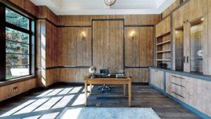 V2Group Inc & Vullnet Zeneli projects -luxury home-work-room-wooden